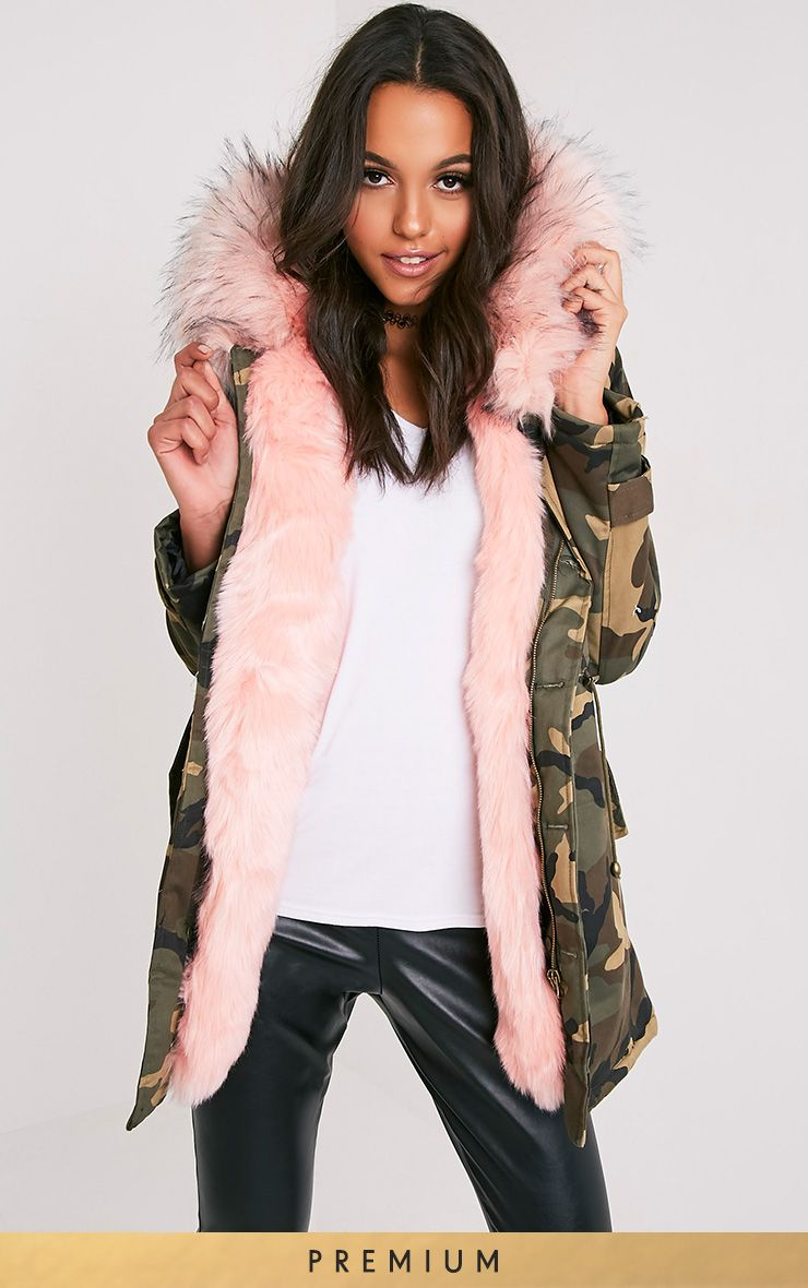 13817908c Fliss Baby Pink Premium Camo Faux Fur Lined Parka | My Fall/Winter ...