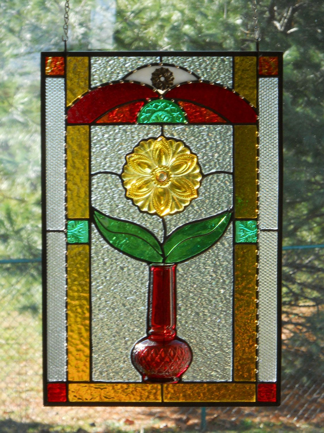 Red Vase with Amber Flower Stained Glass Panel. $95.00 ... - photo#34