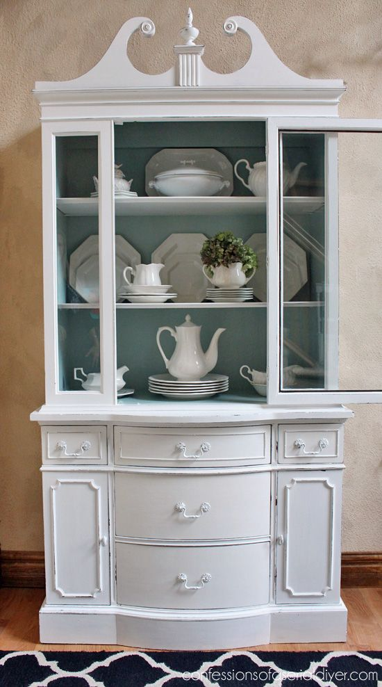 Shabby Chic Painted White China Cabinet