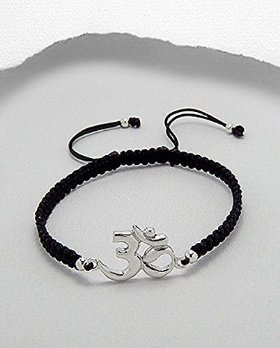 Exceptional Quality.925 Sterling Silver Beautiful Simple Om Ohm Aum Meditation Yoga Polyester Bracelet * Learn more by visiting the image link.