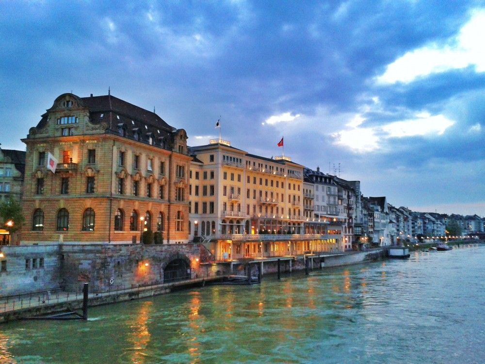 Basel and the Rhine River at dusk, Switzerland #basel # ...