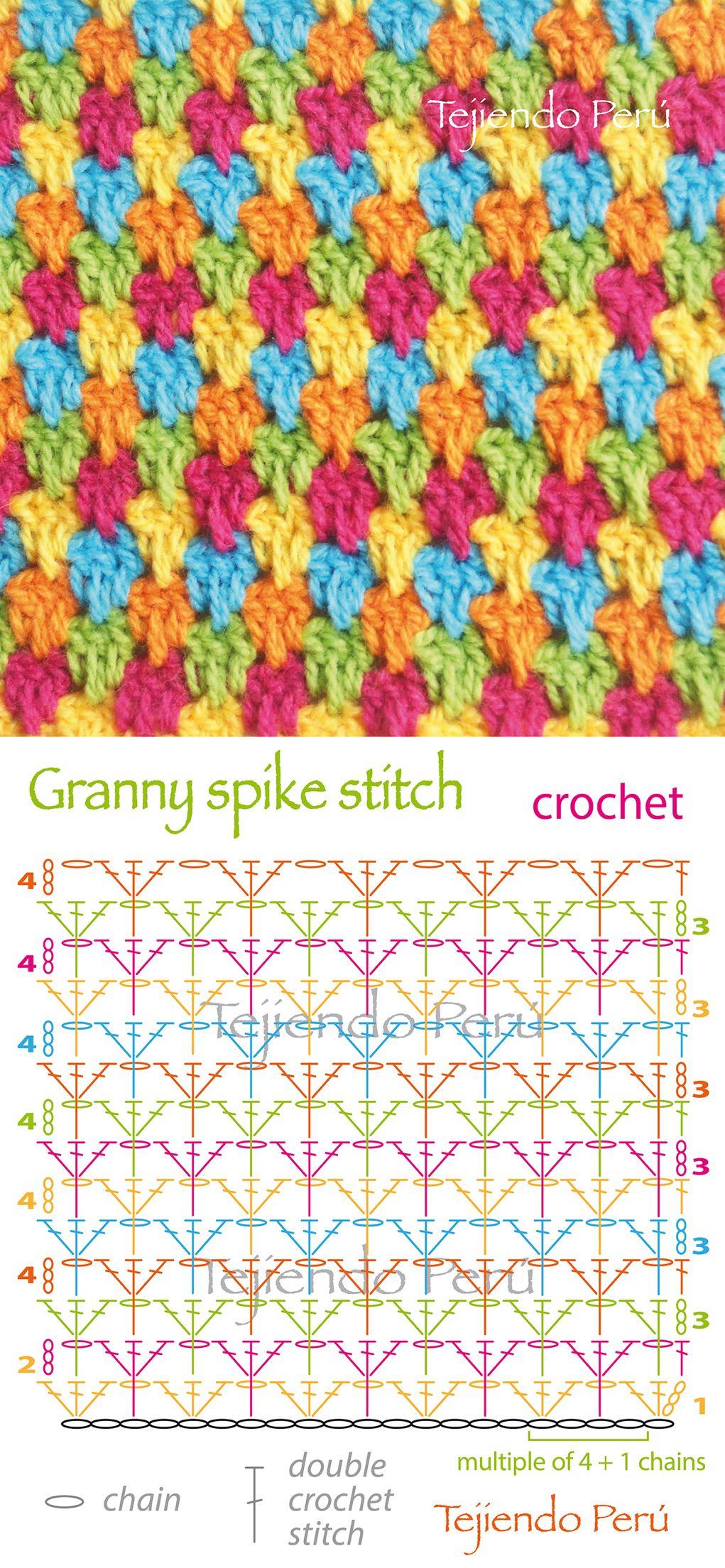 Crochet Granny Spike Stitch Diagram Puntos Fantasía En Crochet