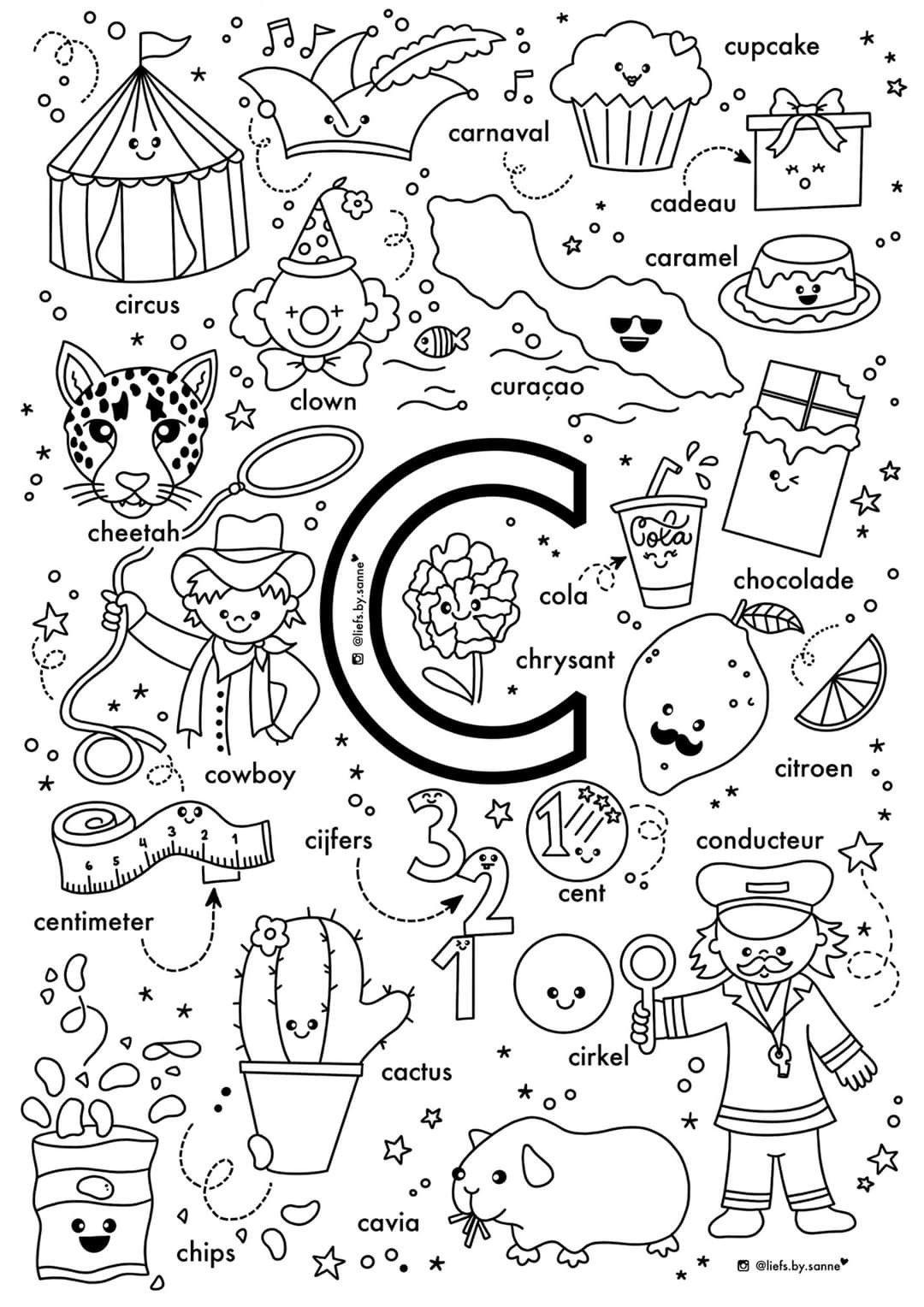 C Woorden Kleurplaat Letterherkenning Spelletjes Alfabet Kleurplaten Alfabet Boek