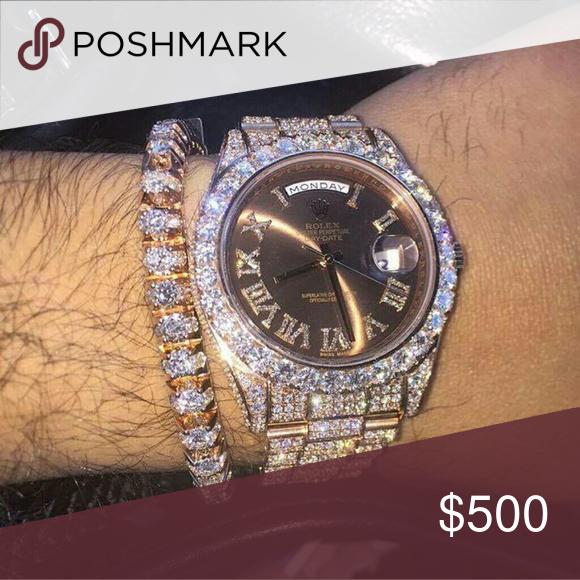 rose gold rolex watch 36mm brand new vvs diamonds iced out