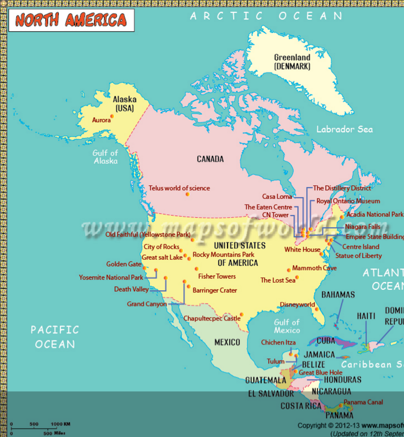 The longest river in north america is the mississippi missouri north america map for kids is one of the most innovative learning tool for children browse through this interesting map and learn about national parks gumiabroncs Image collections