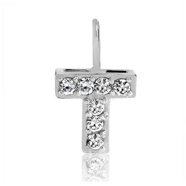 Bling Jewelry Sterling Silver Cz Pave Mini Block Alphabet Letter T