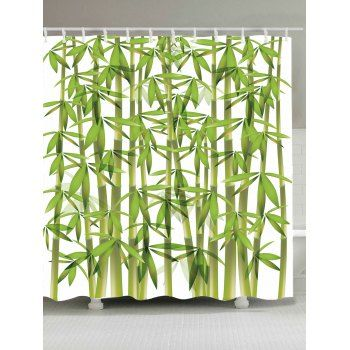 Waterproof Bamboo Print Shower Curtain Curtains Printed Shower