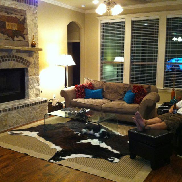 Cowhide rug pier 1 pillows texas license plates mounted - Interior design license california ...
