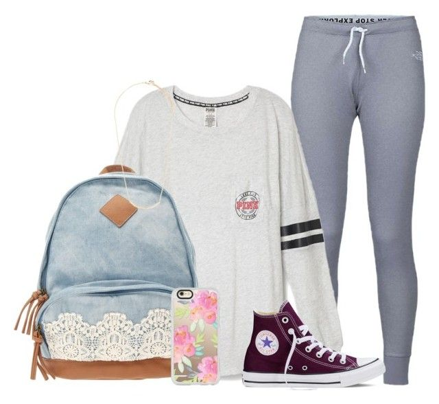 """Day 1: School"" by dejonggirls ❤ liked on Polyvore featuring The North Face, Converse, Casetify, Forever 21 and mmprepadevocontest"