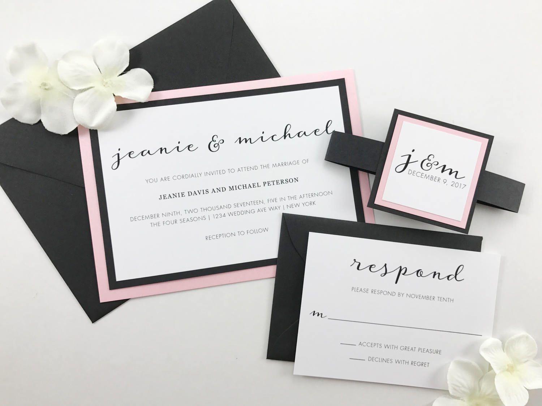 Modern Script Wedding invitations, Elegant Calligraphy Classic Flowy ...