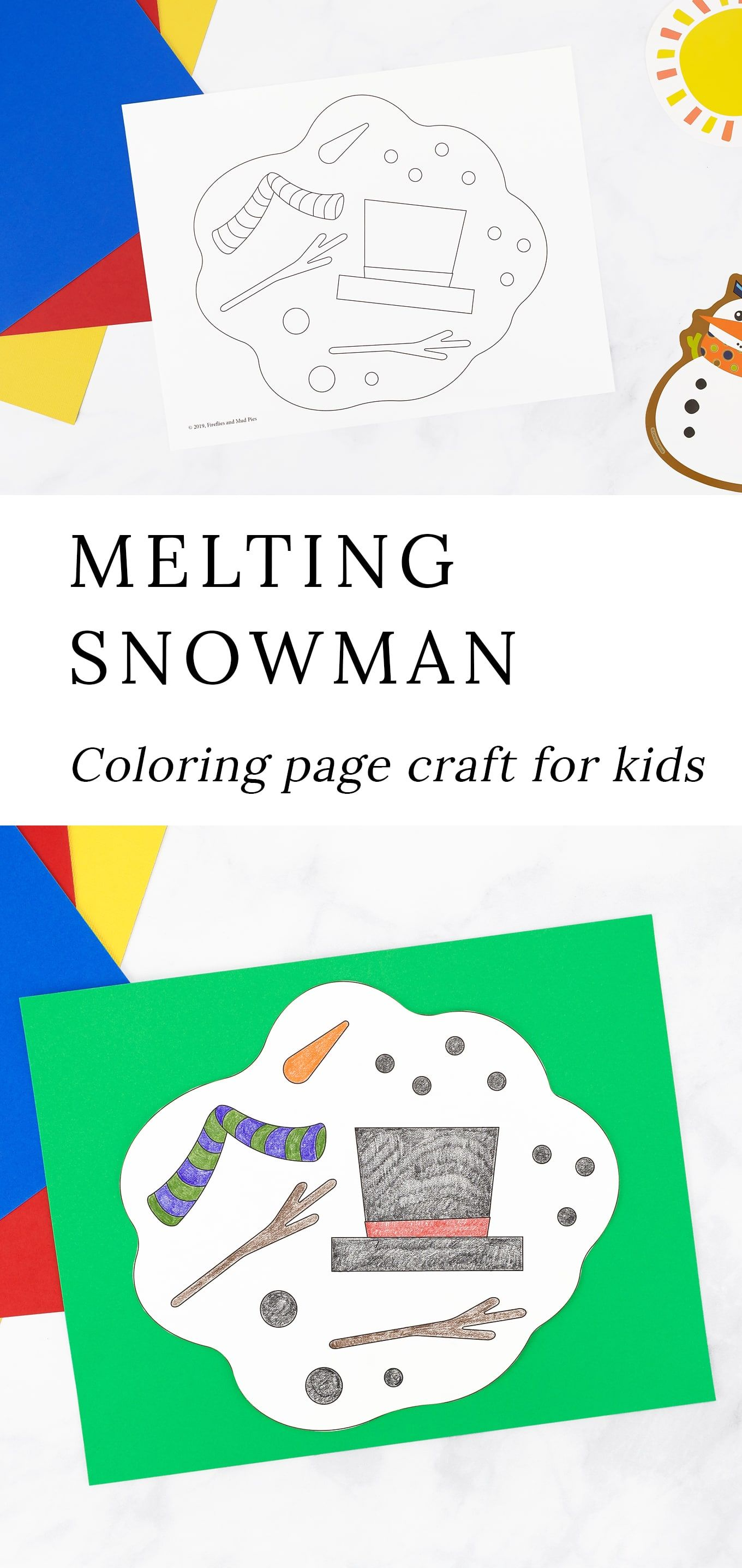 Melting Snowman Coloring Page Snowman Coloring Pages Preschool