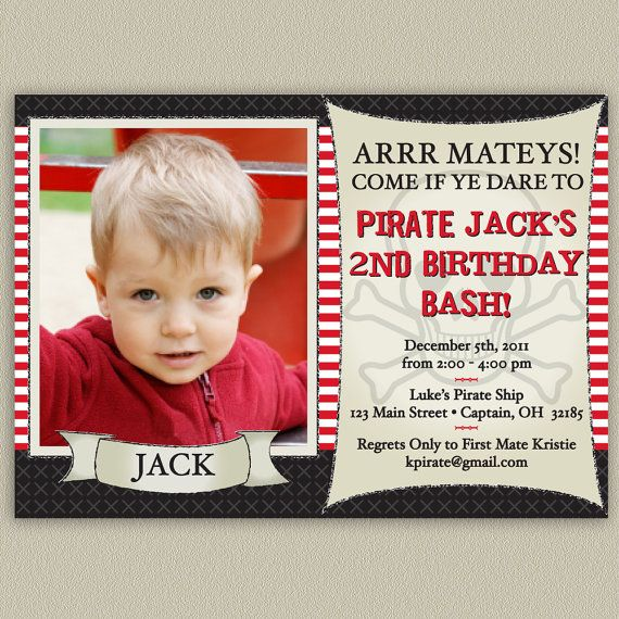 Pirate Bash - Printable Birthday Party Invitation with Color Options