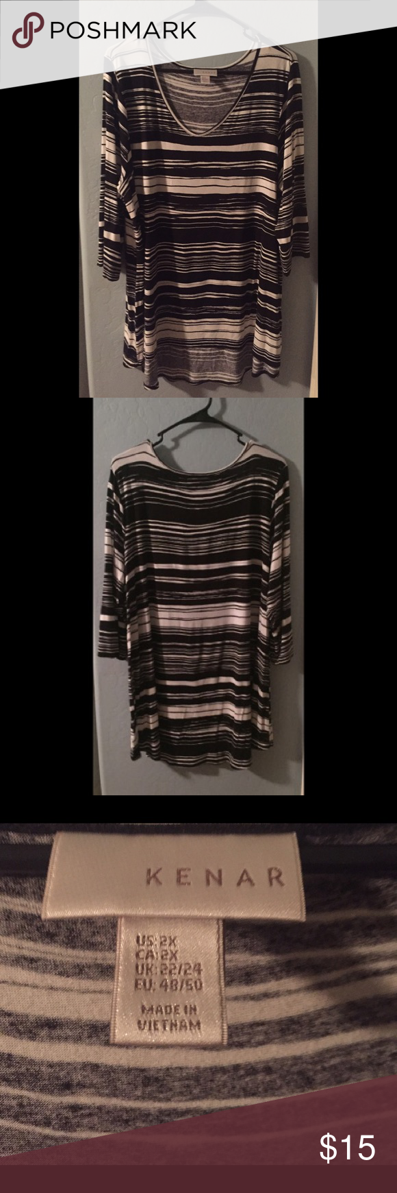 + Sized! Striped top Knit black and white top. Great for the office. No holes or wear. Smoke free home. All offers considered. Kenar Tops