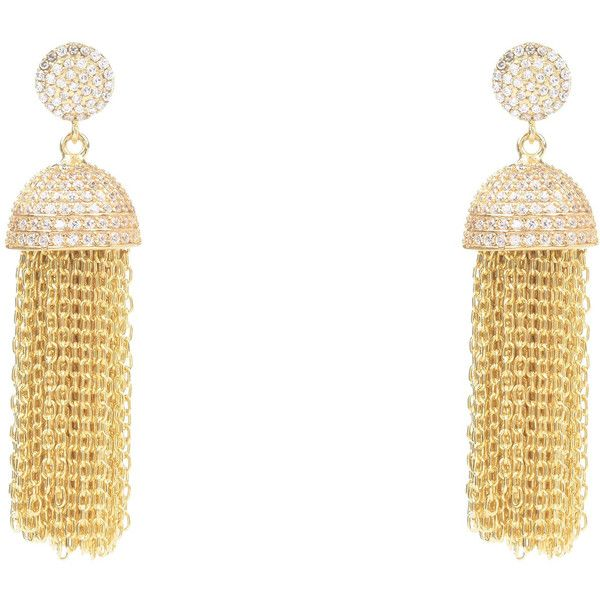 Tassel chain earring gold £435 via Polyvore featuring jewelry