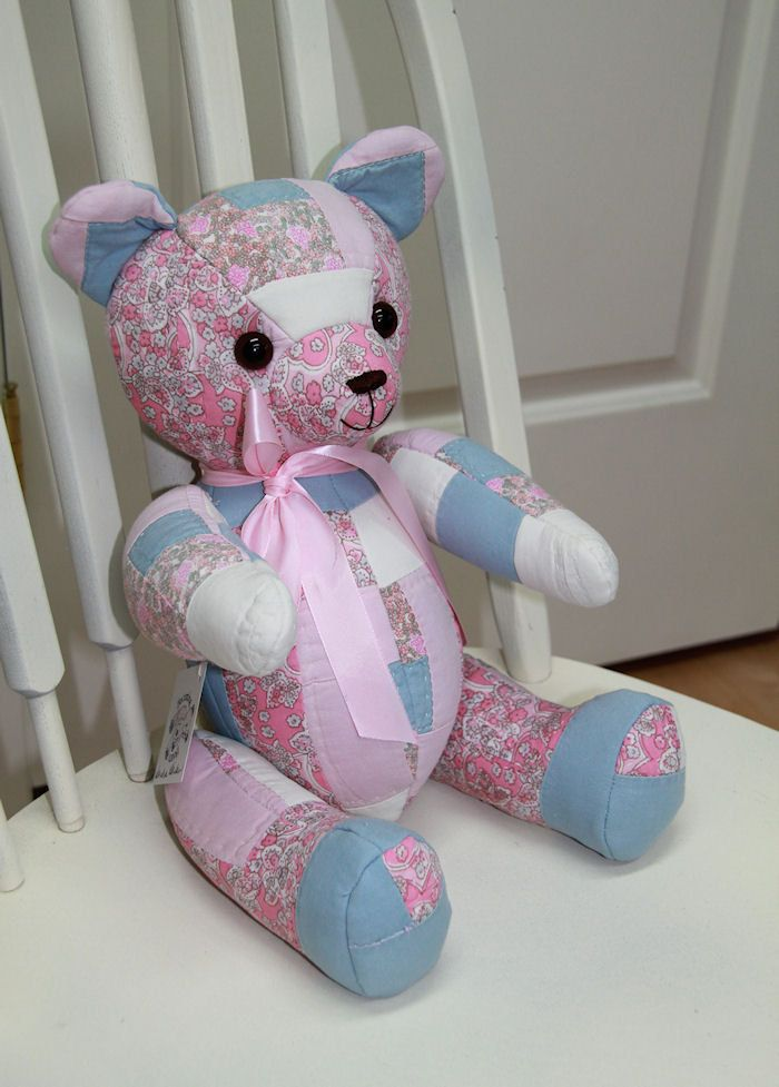 Quilted Teddy Bear, Pink and Blue, Jointed