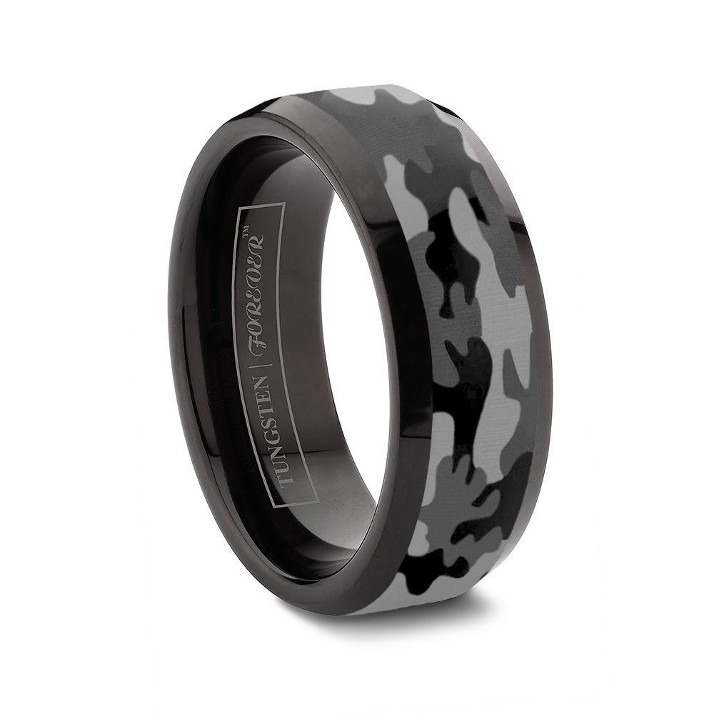 6mm 8mm 10mm Beveled Camo Black Tungsten Wedding Band Camo Engagement Rings Black Tungsten Rings Titanium Wedding Rings