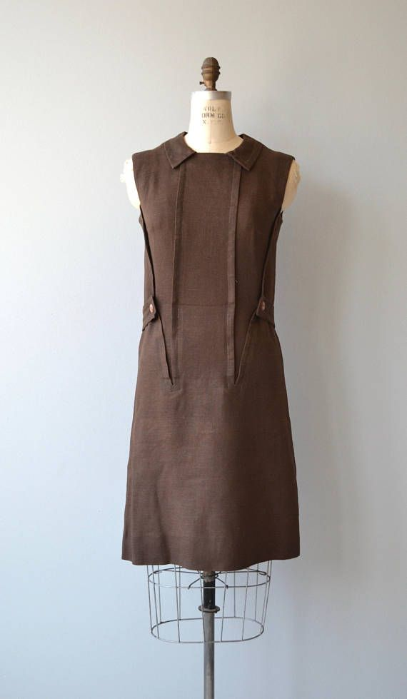 89ace7849b Vintage 1960s bark brown Moygashel linen shift dress tailored by Sloat with  understated inverted seaming