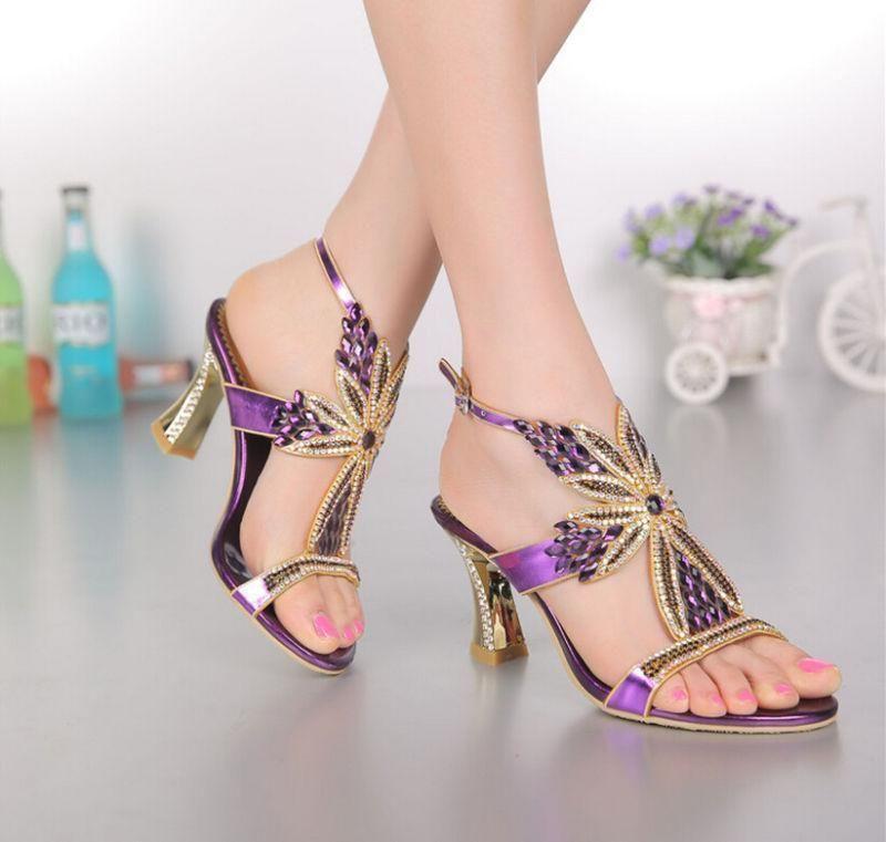 7e96de893c7 Purple Flower Jeweled Evening Dress Wedding High Heel Platform Sandal Shoes   SandalsHeels