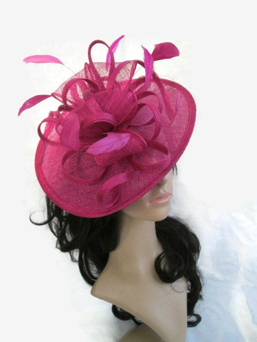 Pink Fascinator.Stunning Fuschia Pink Sinamay Shaped disc Fascinator ... ce3c4c3665a