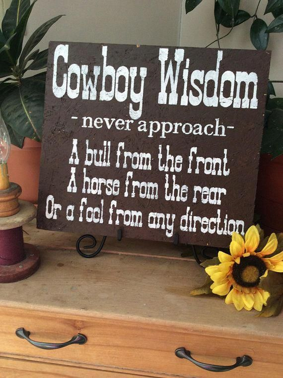 Photo of Western Sign, Cowboy Wisdom Sign, Western Home decor, rustic home decor, Barnwood Sign, Cowboy Quote, Never Approach a Bull, a Horse, a Fool