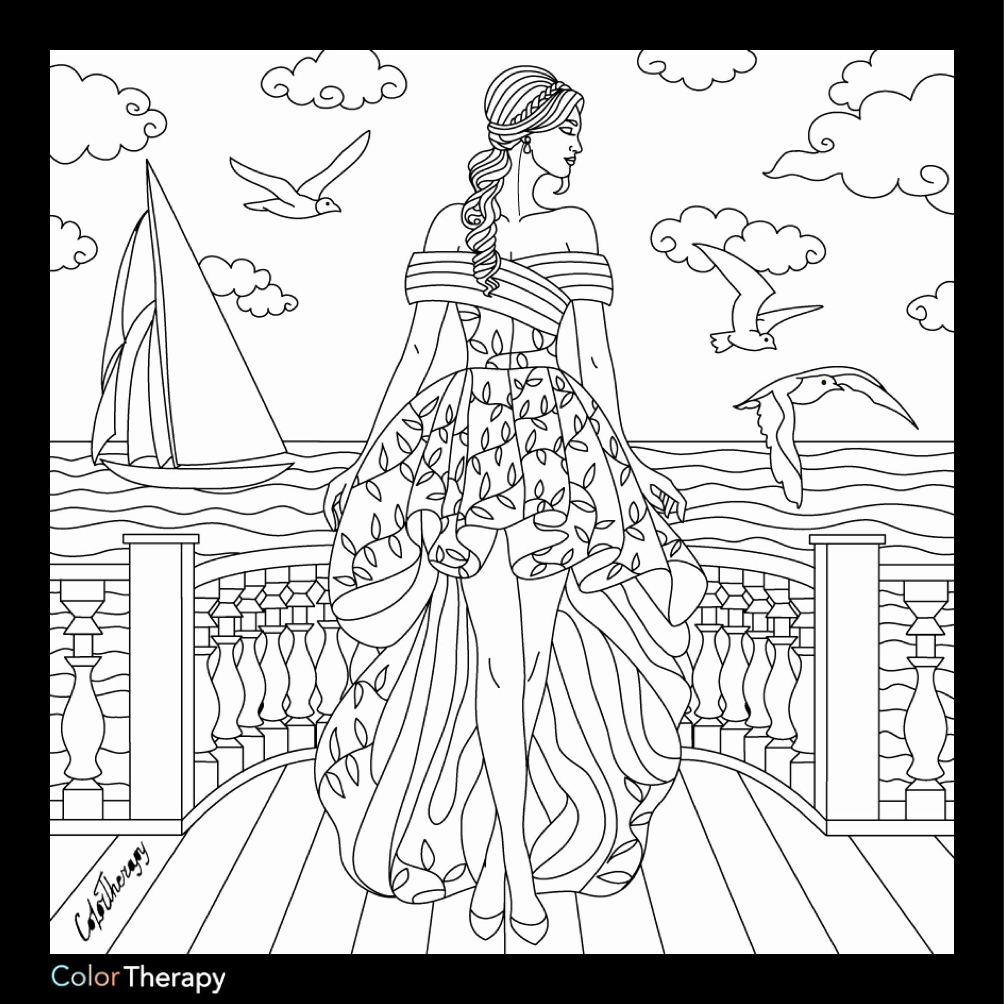 Coloring Book Fashion Girl New Color Therapy Coloring Pages Gambar Warna Sulaman