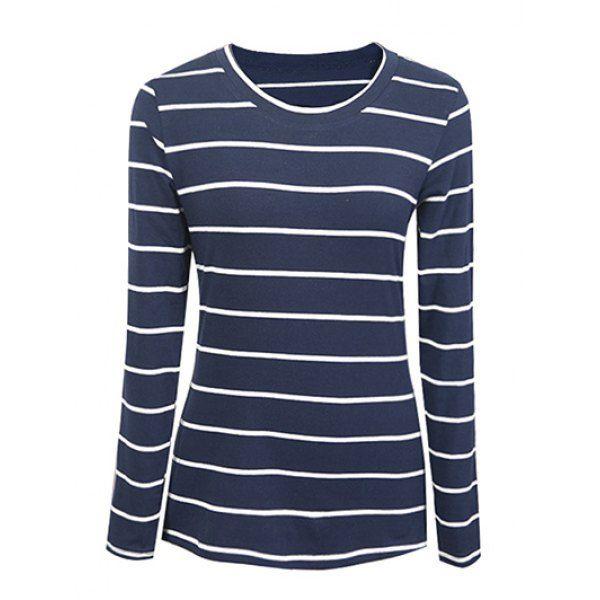 Casual Striped Slimming Women's T-Shirt - PURPLISH BLUE 2XL