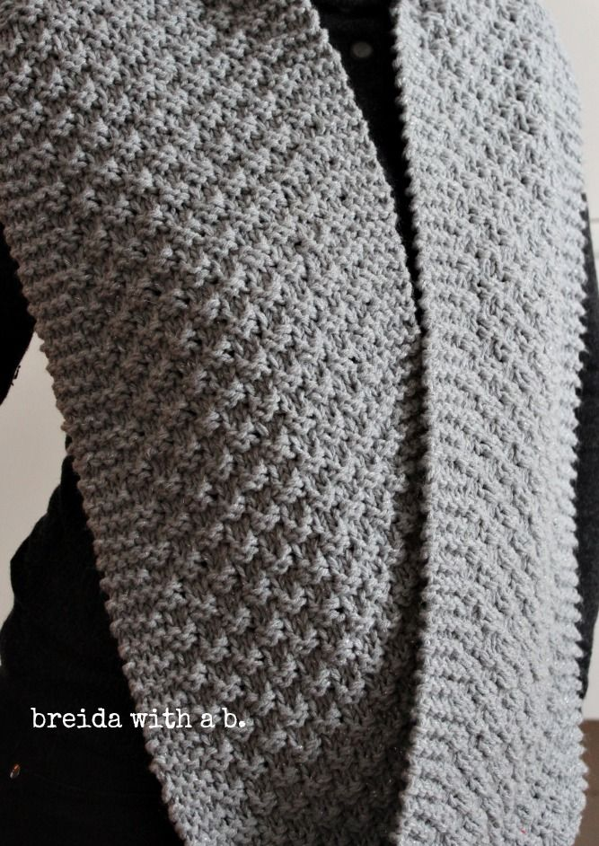 simple knitting-silver grey cowl breidawithab.com | bufandas punto ...