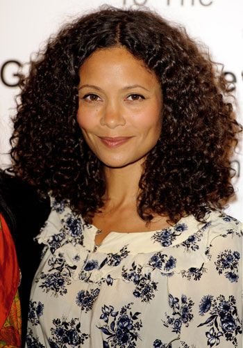 "Thandie Newton's corkscrew curls - I read she had pledged to stop straightening after seeing ""Good Hair"" (excellent film about anti-natural hair attitudes in black community). And why not,she looks amazing naturally!"