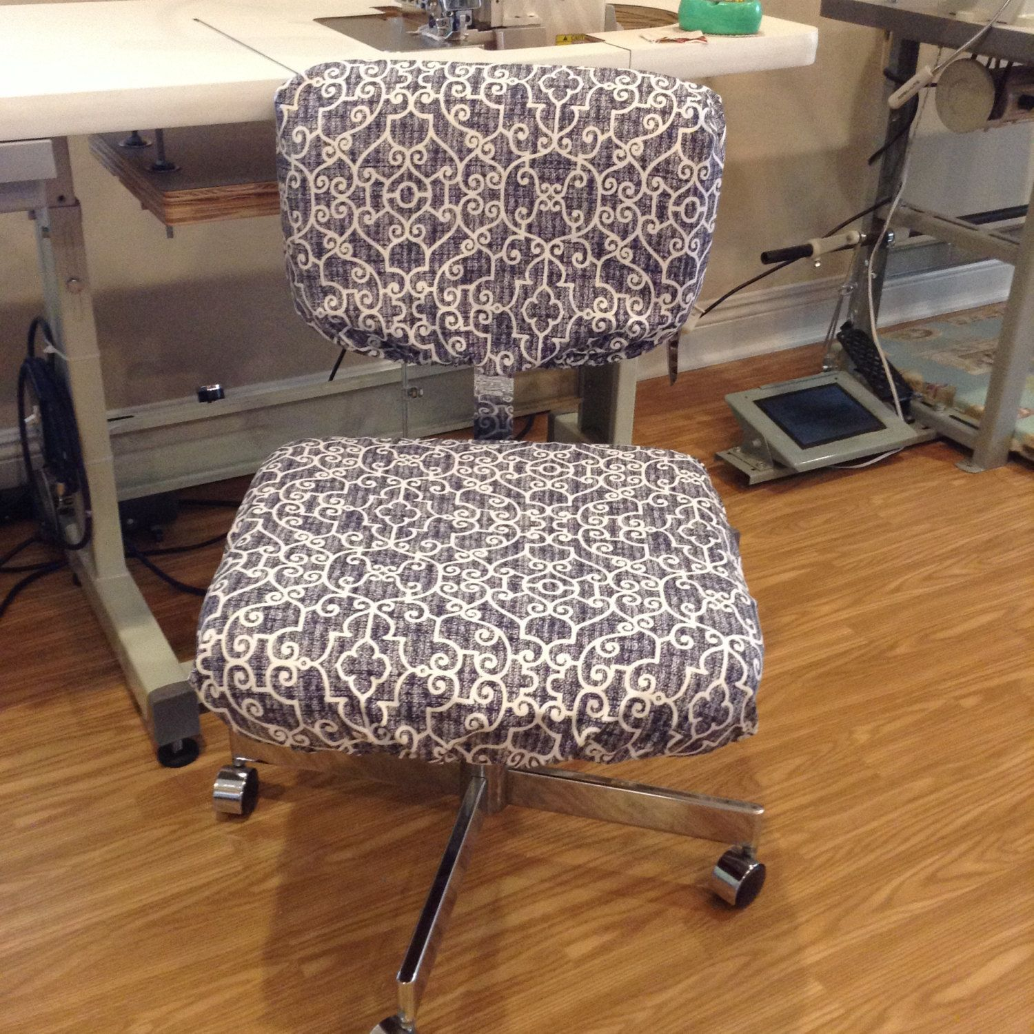Office Chair Seat And Back Covers With Monogram Dorm Slipcover Elasticized Customizable Washable Removable