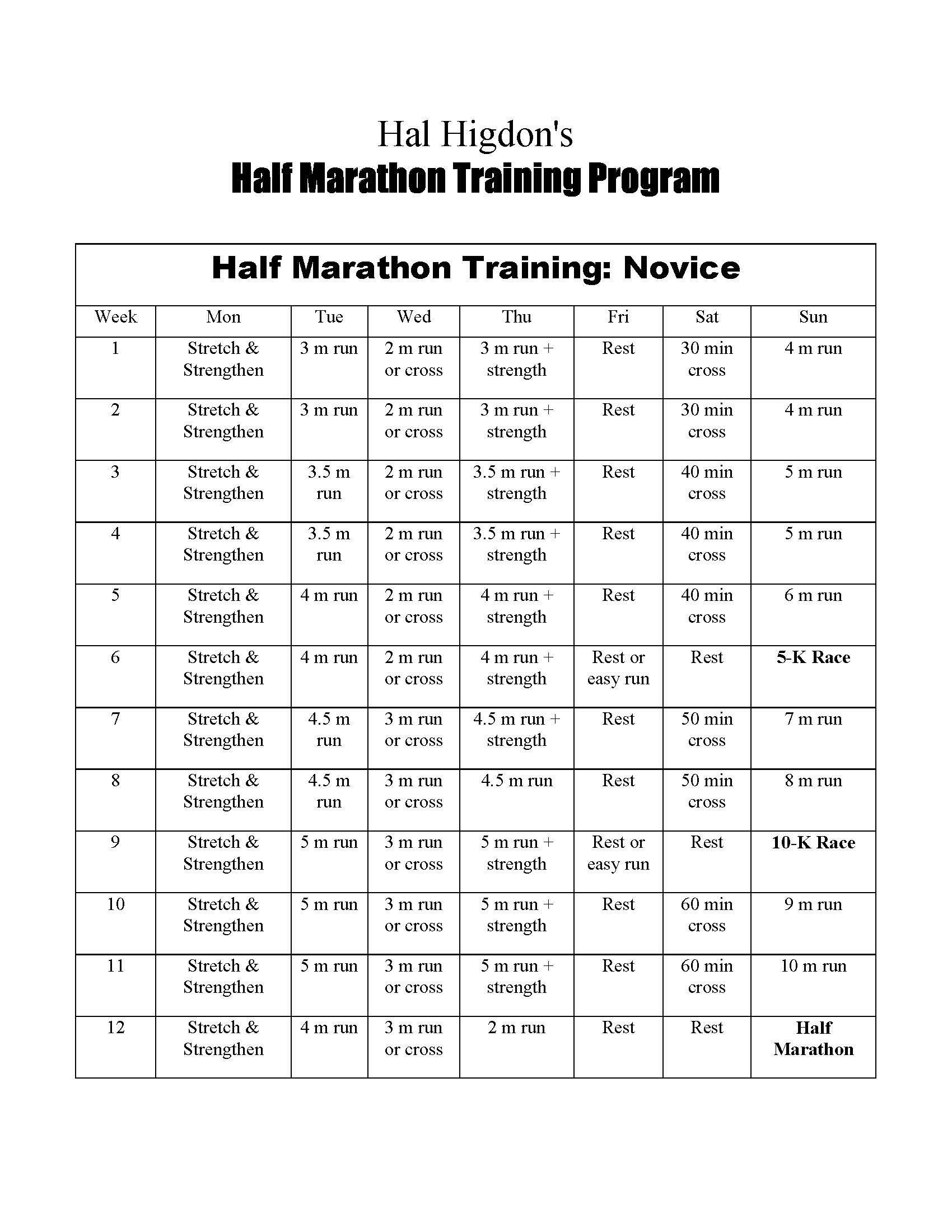 1/2 marathon training schedule | body | pinterest | marathon