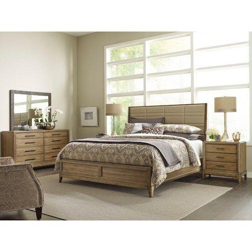 American Drew Bedroom Furniture Dark Pine 70 S: American Drew EVOKE California King Upholstered Sheltered
