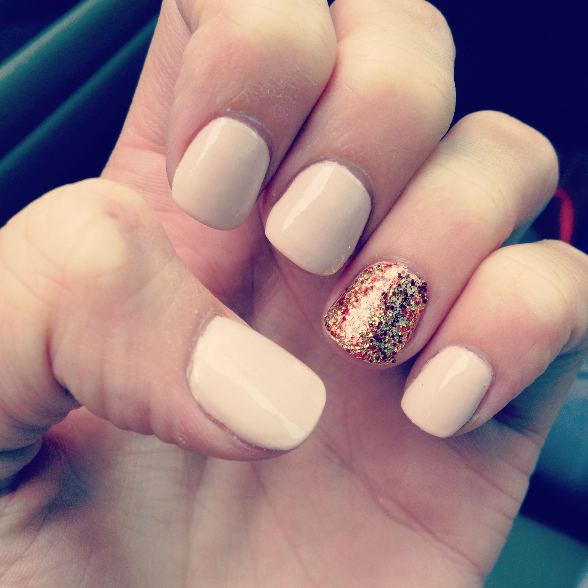 Nude nails with red and gold glitter accent nail | My Style | Pinterest