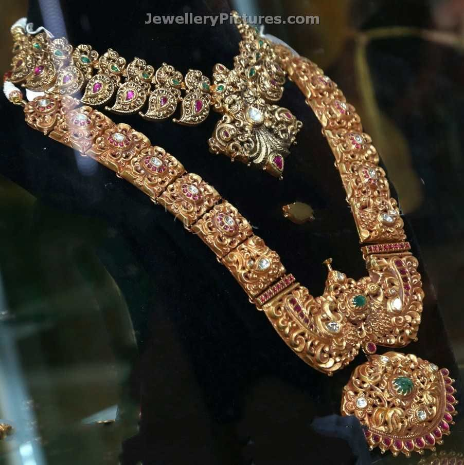 22 carat gold antique south indian bridal jewellery sets with