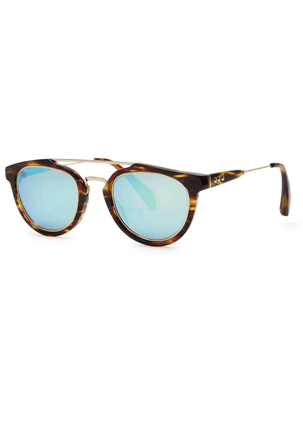 31c4fa61da7 Taylor Morris Eyewear brown tortoiseshell acetate sunglasses  Designer-stamped mirrored cyan lenses