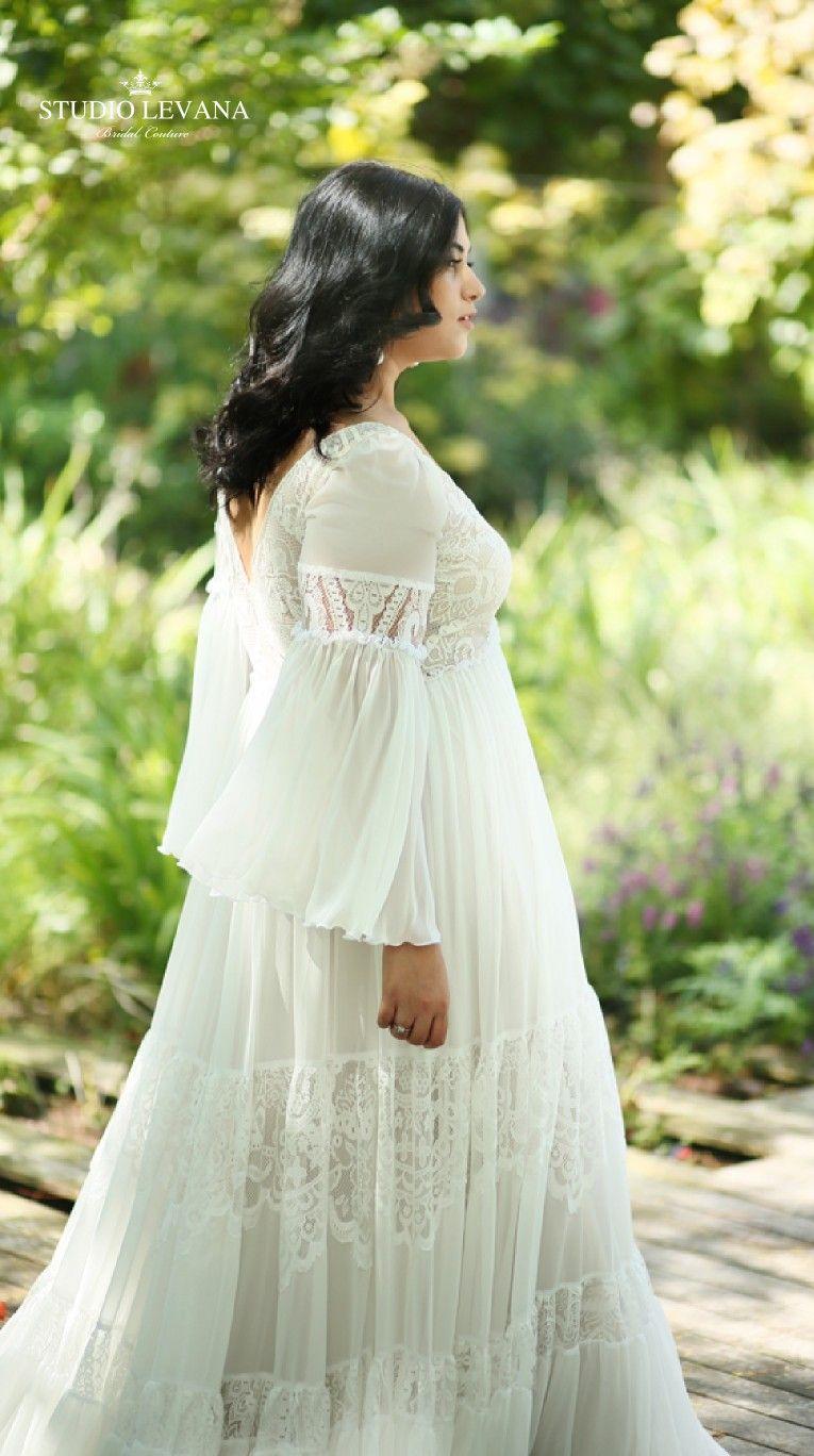 Bohemian Curvy Wedding Dress With Chiffon Flowy Sleeves And Soft Simple Lace Alena Wedding Dresses Flowy Sleeves Red Wedding Dresses Plus Size Wedding Gowns [ 1368 x 765 Pixel ]