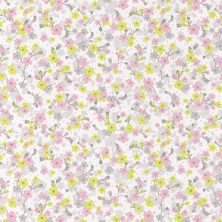Pretty Lili\u0027 Tapete \u0027Blümchen\u0027 rosa/lime/hellgrau - schlafzimmer farben grau rosa
