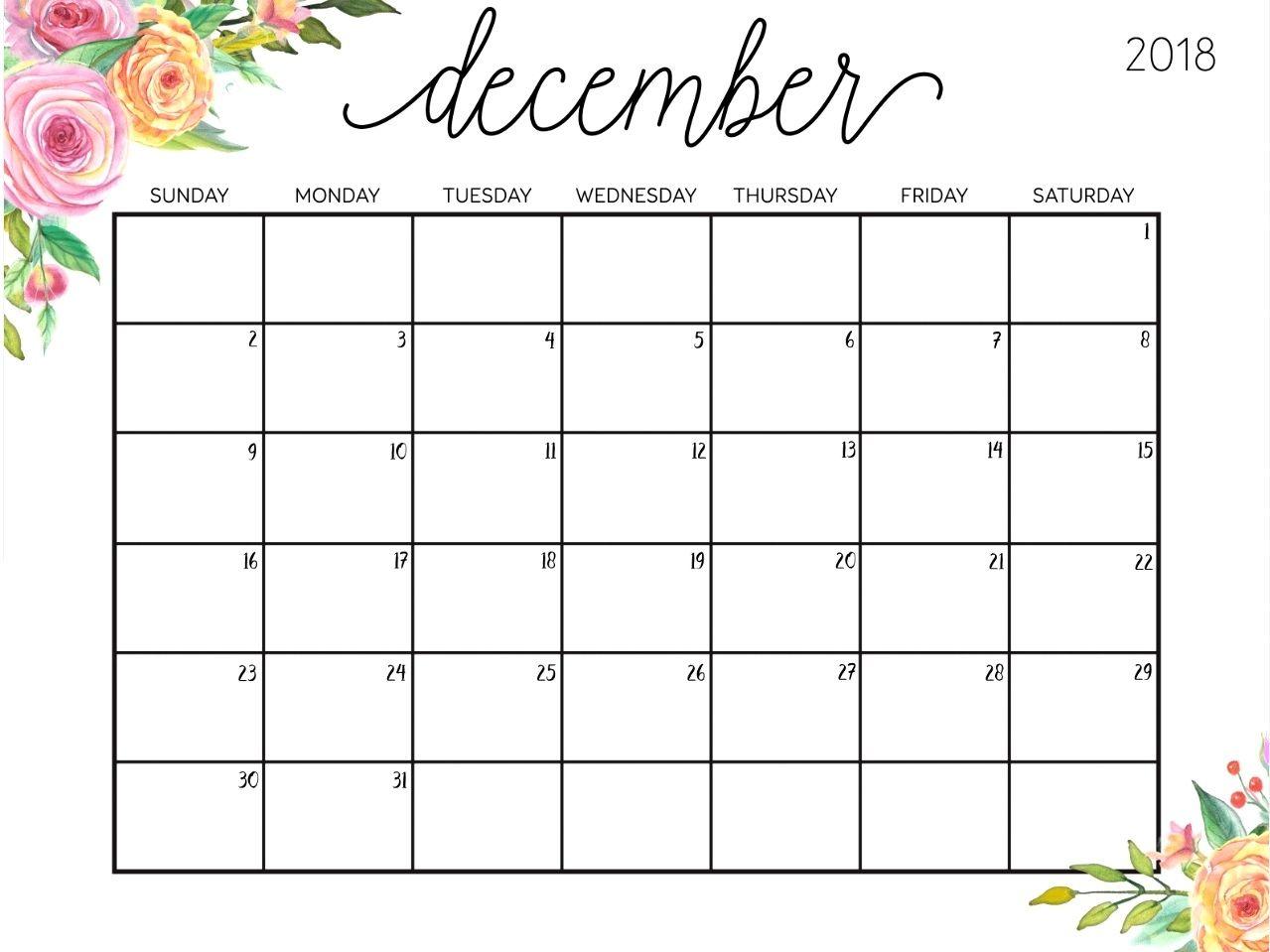 December 2018 Cute Calendar Printable Printable Calendar