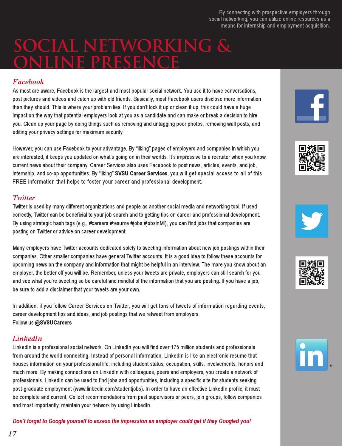 Svsu Career Guide 2013 Career Interview Coaching Online Resources