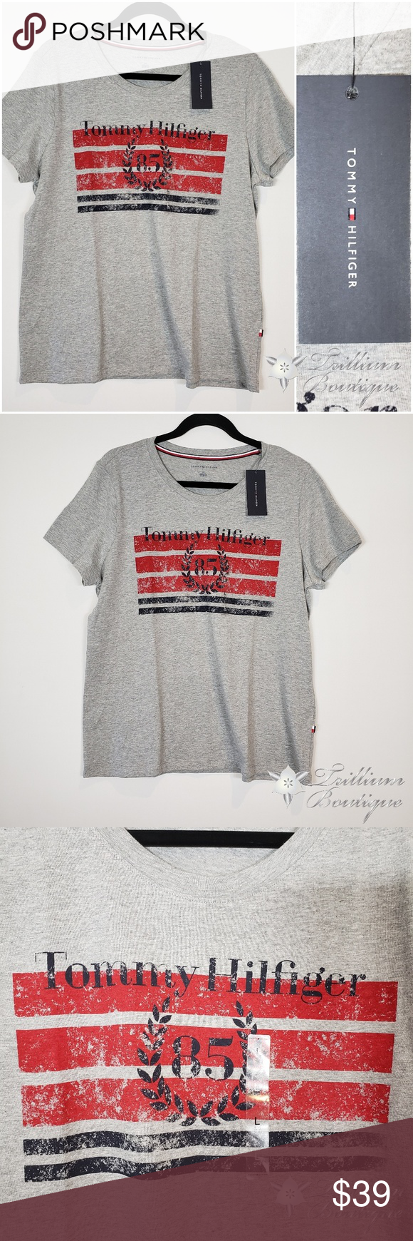 Tommy Hilfiger Gray 85 T Shirt Large Tommy Hilfiger Gray 85 T Shirt New With Tags Size Large Smoke Free Clothes Design Hilfiger T Shirts For Women [ 1740 x 580 Pixel ]