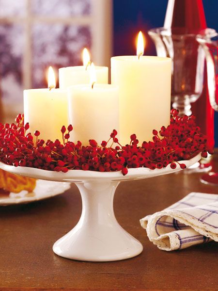 ed307f6c746c1 Candles on a cake stand - such an easy holiday centerpiece!  Christmas