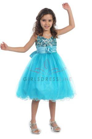 Turquoise Sequined Flower Girl Dress