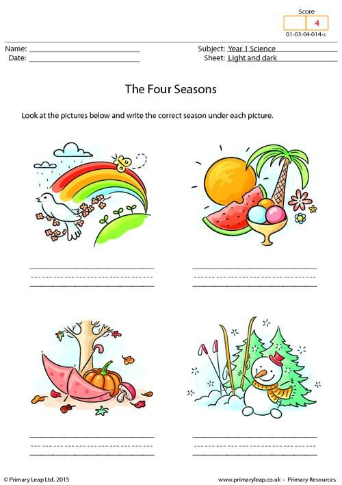 PrimaryLeap.co.uk - Writing the Four Seasons Worksheet ...