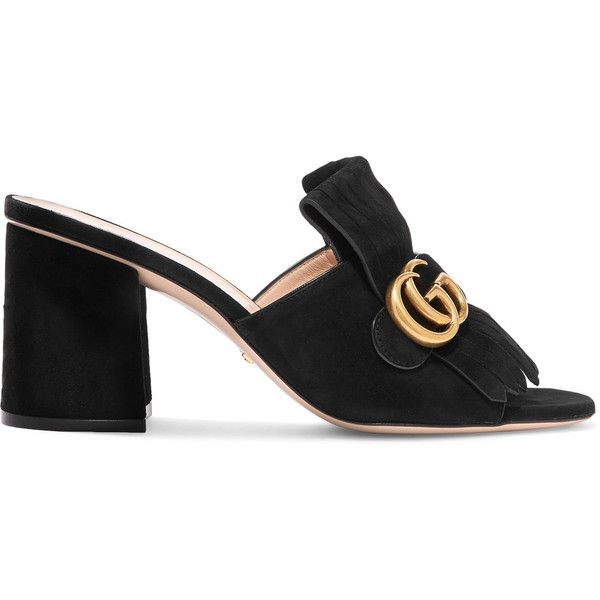 7d7222fd53cc Gucci Marmont fringed suede mules (1.583.950 COP) ❤ liked on Polyvore  featuring shoes