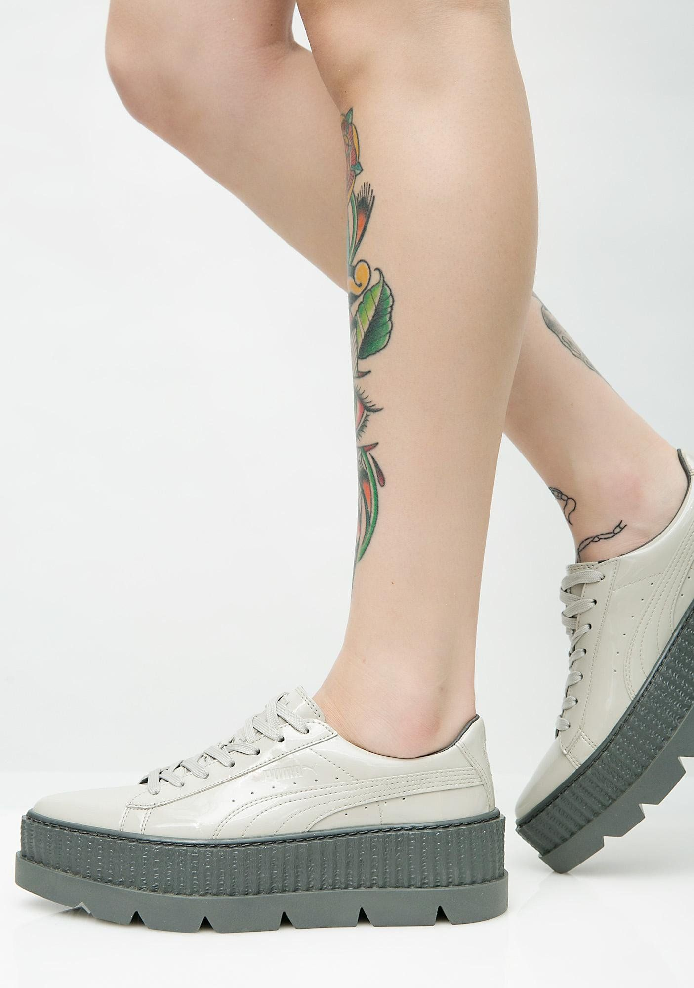 f3c1994b0094 PUMA Dove FENTY PUMA By Rihanna Pointy Patent Creepers will elevate your  shoe game. These gray platform creepers have pointed toes and lace-up front  ...