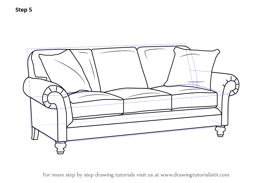Learn How To Draw Sofa Furniture Step By Step Drawing