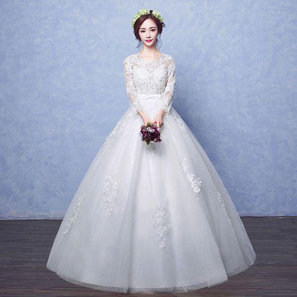 b8637aeb5d0de 姫風 マタニティドレス ウェディングドレス 袖あり 安い 花嫁 ドレス 結婚式 ウエディングドレス ブライダル