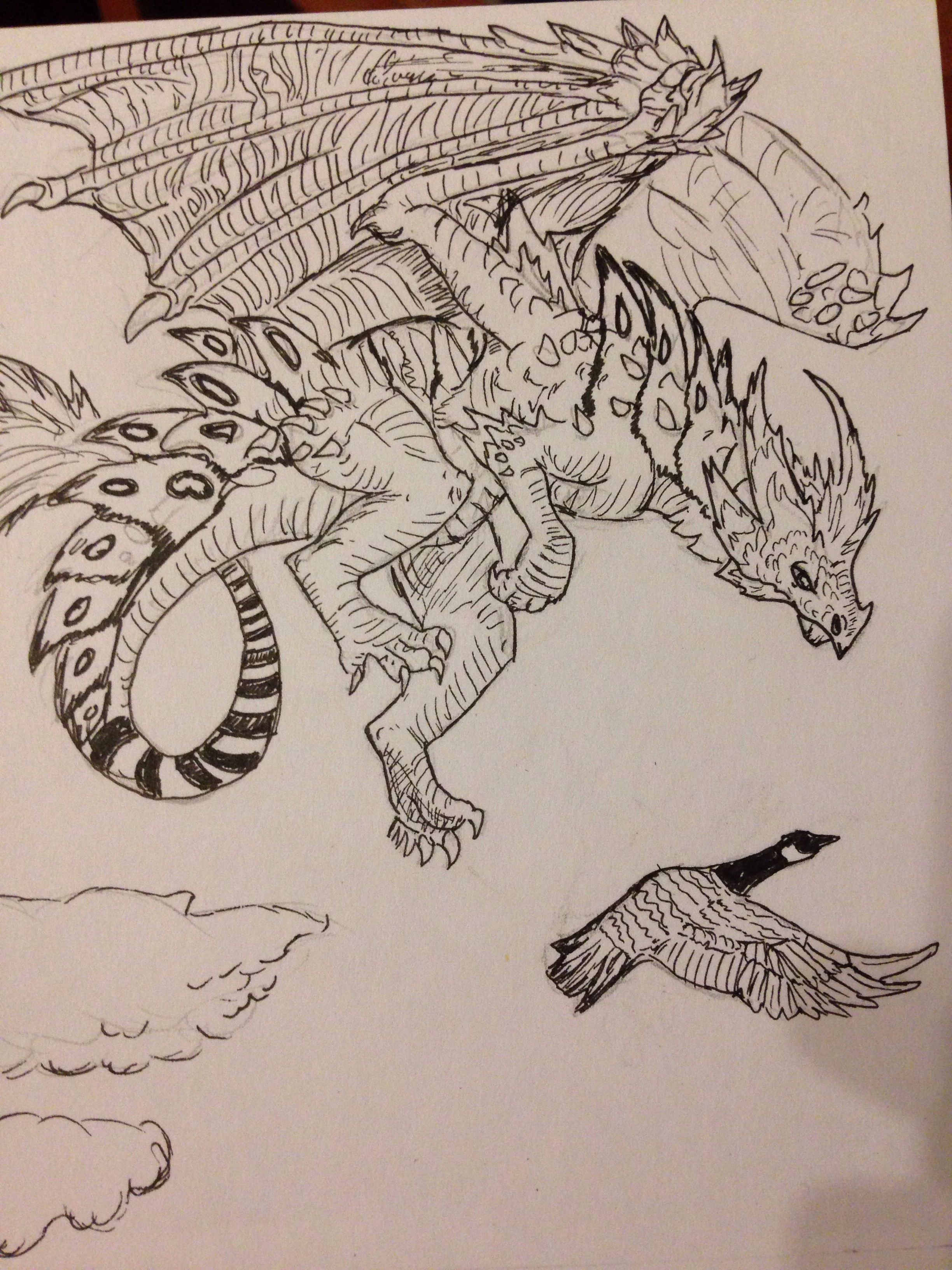 Dragon thinking about a goose dinner