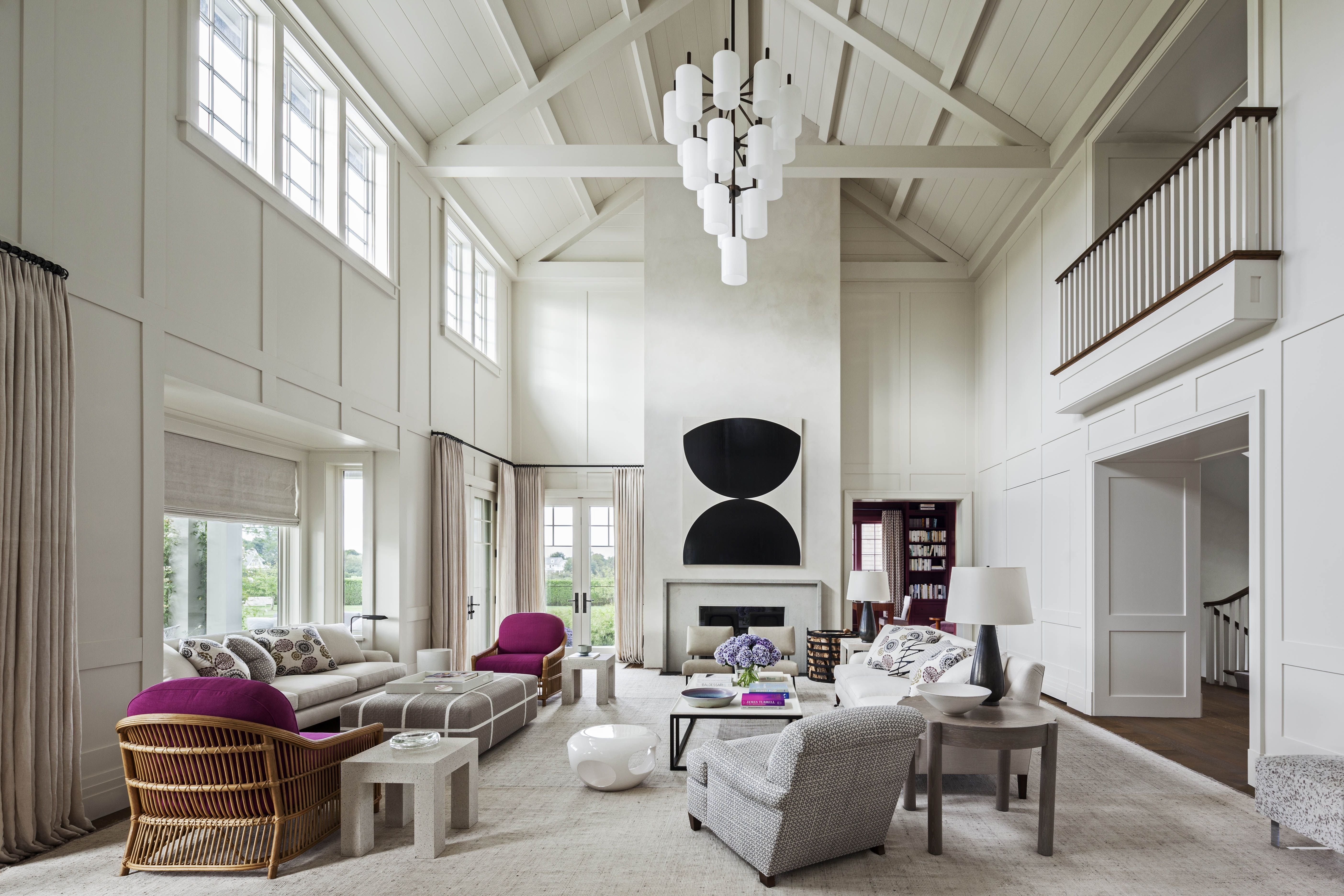 Sagaponack white living room with pops of color and high beam ...