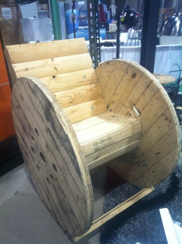 cable spool rocking chair doors and windows and pallets and crates and pinterest. Black Bedroom Furniture Sets. Home Design Ideas