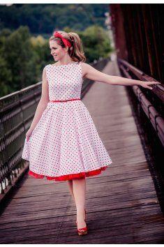 13ae332b1 SUSAN retro šaty bílé s červeným puntíkem | Wedding Ideas | Fashion ...
